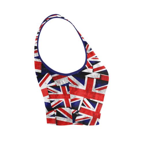Union Jack British UK Flag Women's Crop Top (Model T42)