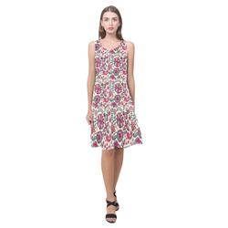 Retro Doodles - Pink Floral Sleeveless Splicing Shift Dress(Model D17)