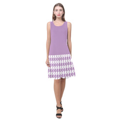 lilac and white houndstooth classic pattern Sleeveless Splicing Shift Dress(Model D17)