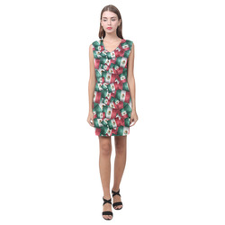 Grunge-Style Mexican Flag of Mexico Phoebe Sleeveless V-Neck Dress (Model D09)