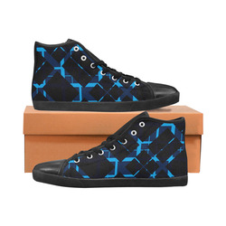 Diagonal Blue & Black Plaid Hipster Style Women's High Top Canvas Shoes (Model 002)