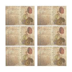 Brown Book Ephemera Placemat 12'' x 18'' (Six Pieces)
