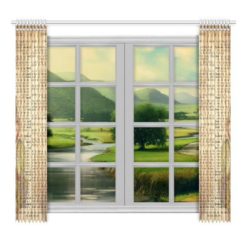 "Brown Book Ephemera Window Curtain 52""x96""(Two Piece)"