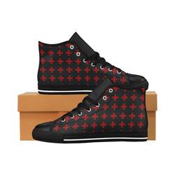 Punk Rock style Red Crosses Pattern design Aquila High Top Microfiber Leather Women's Shoes (Model 027)