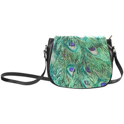 Watercolor Peacock Feathers Classic Saddle Bag/Small (Model 1648)