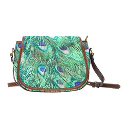 Watercolor Peacock Feathers Saddle Bag/Small (Model 1649) Full Customization