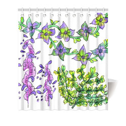 "Abstract Purple Green Birds Singing Flowers Garden Shower Curtain 66""x72"""