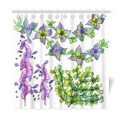 "Abstract Purple Green Birds Singing Flowers Garden Shower Curtain 72""x72"""