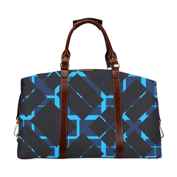 Diagonal Blue & Black Plaid Modern Style Classic Travel Bag (Model 1643)