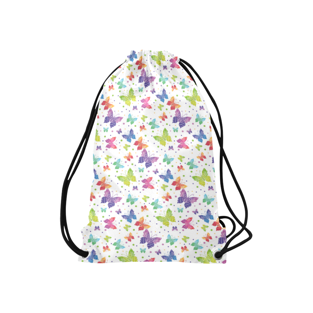 "Colorful Butterflies Small Drawstring Bag Model 1604 (Twin Sides) 11""(W) * 17.7""(H)"
