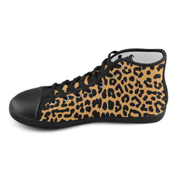Leopard print High Top Canvas Kid's Shoes (Model 002)