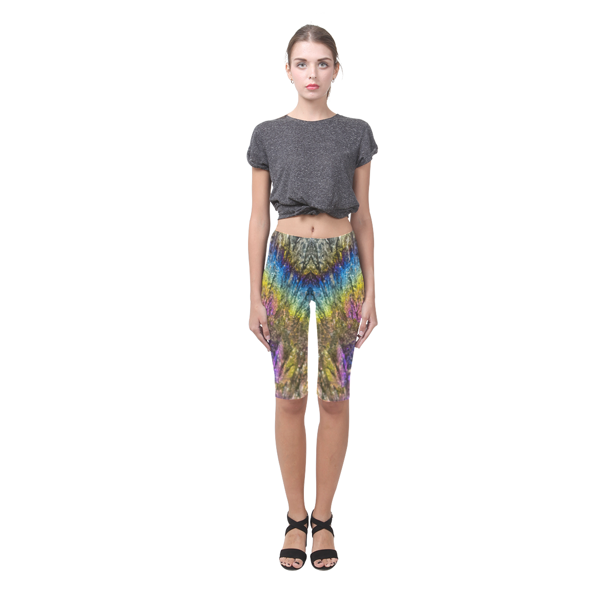 Colorful stone texture Hestia Cropped Leggings (Model L03)