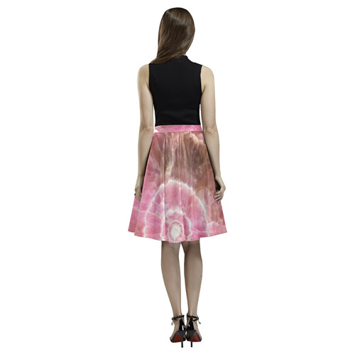 Pink and white stone texture Melete Pleated Midi Skirt (Model D15)