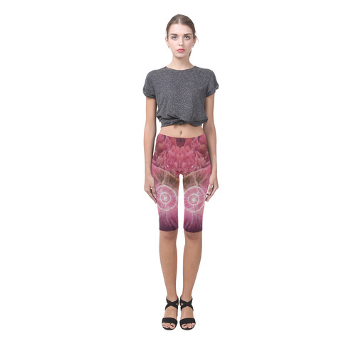 Pink and white stone texture Hestia Cropped Leggings (Model L03)