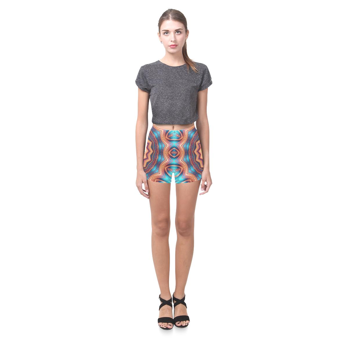Blue Feather Mandala Briseis Skinny Shorts (Model L04)
