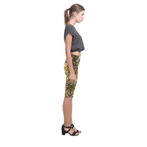 Golden stone texture Hestia Cropped Leggings (Model L03)