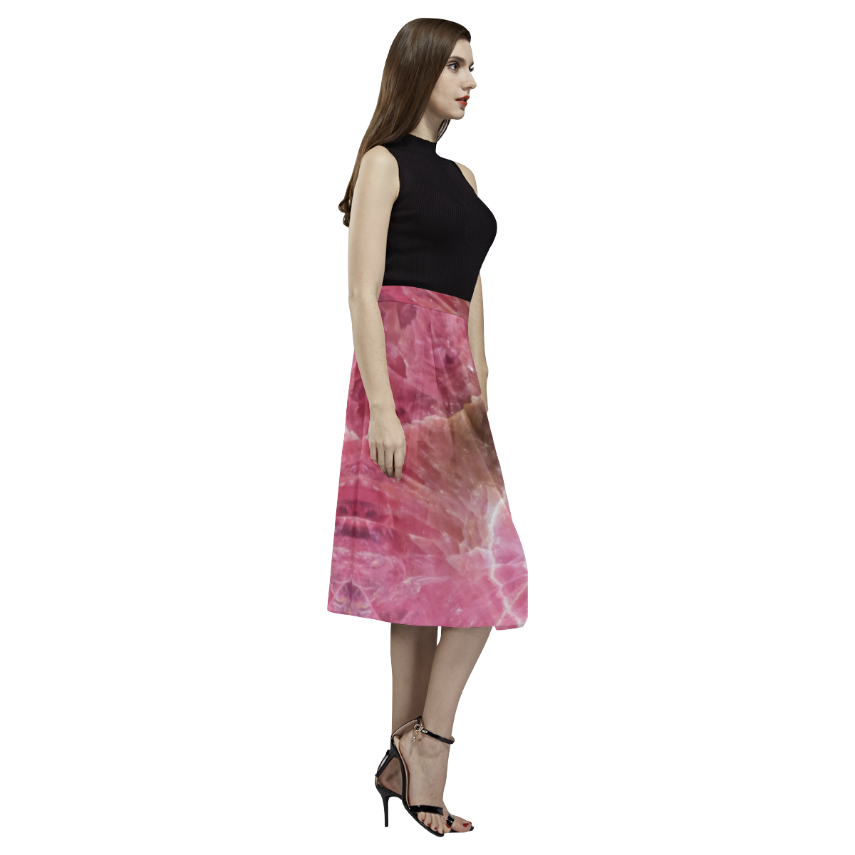 Pink and white stone texture Aoede Crepe Skirt (Model D16)