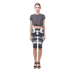 Black and white marble stone texture Hestia Cropped Leggings (Model L03)