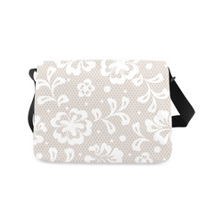 White Flowers on Grey, Lace Effect, Floral Pattern Messenger Bag (Model 1628)