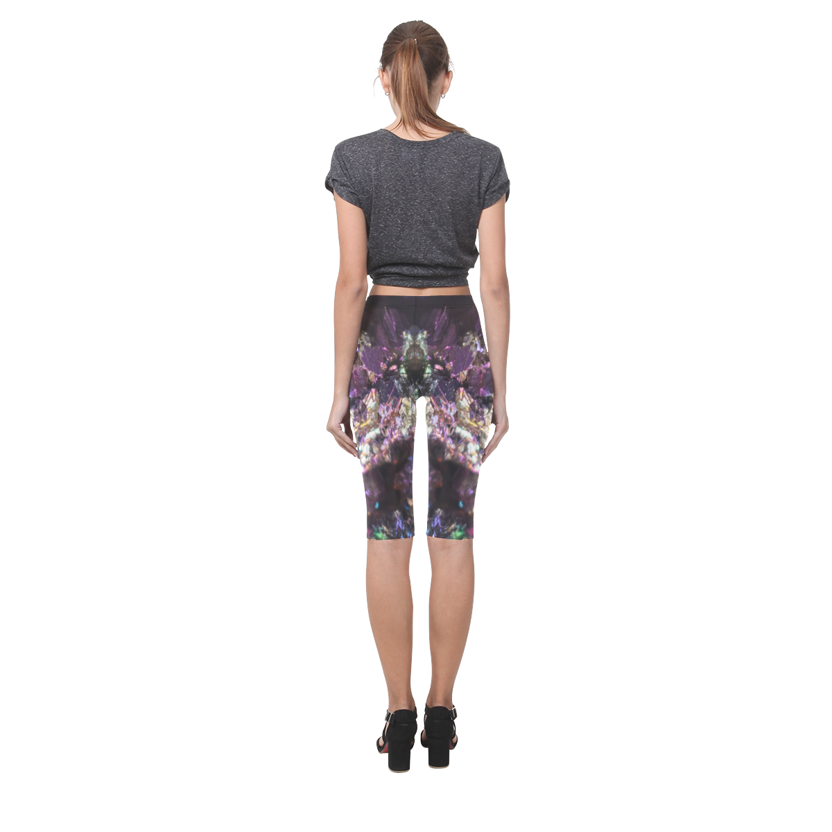 Purple green and blue crystal stone texture Hestia Cropped Leggings (Model L03)