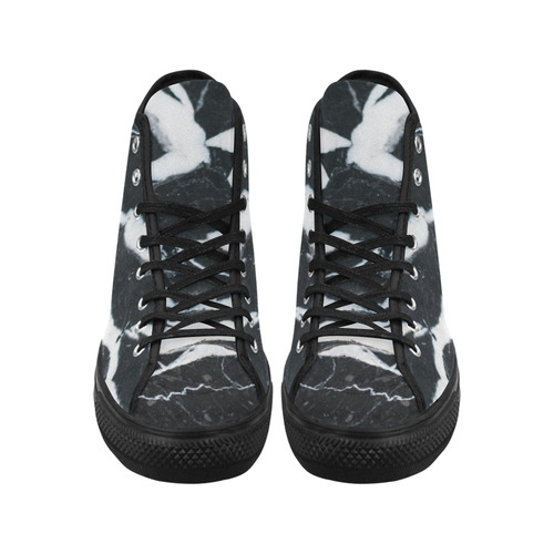 Black and white marble stone texture Vancouver H Men's Canvas Shoes (1013-1)