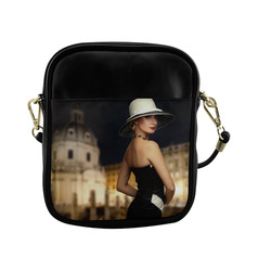 Elegant Beautiful Woman White Hat Black Dress Sling Bag (Model 1627)