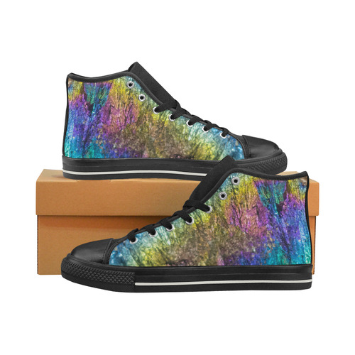 Colorful stone texture Men's Classic High Top Canvas Shoes (Model 017)
