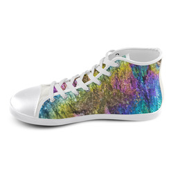 Colorful stone texture High Top Canvas Kid's Shoes (Model 002)