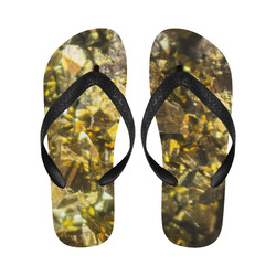 Golden stone texture Flip Flops for Men/Women (Model 040)
