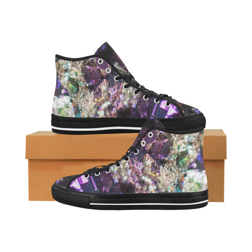Purple green and blue crystal stone texture Vancouver H Men's Canvas Shoes (1013-1)