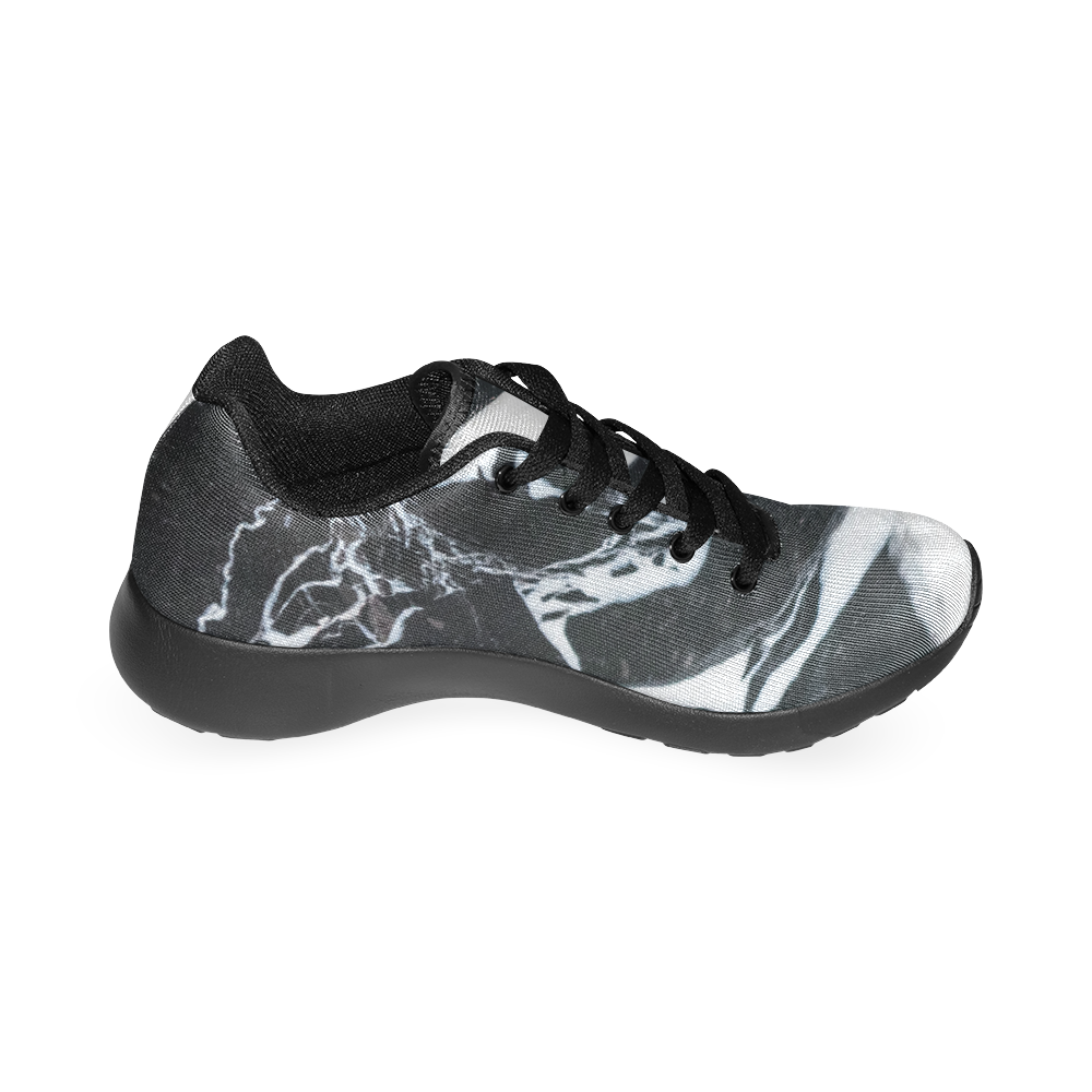 Black and white marble stone texture Men's Running Shoes (Model 020)