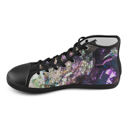 Purple green and blue crystal stone texture High Top Canvas Kid's Shoes (Model 002)