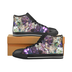 Purple green and blue crystal stone texture Men's Classic High Top Canvas Shoes /Large Size (Model 017)