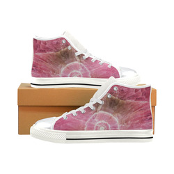 Pink and white stone texture High Top Canvas Shoes for Kid (Model 017)