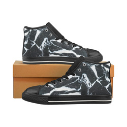 Black and white marble stone texture Men's Classic High Top Canvas Shoes /Large Size (Model 017)