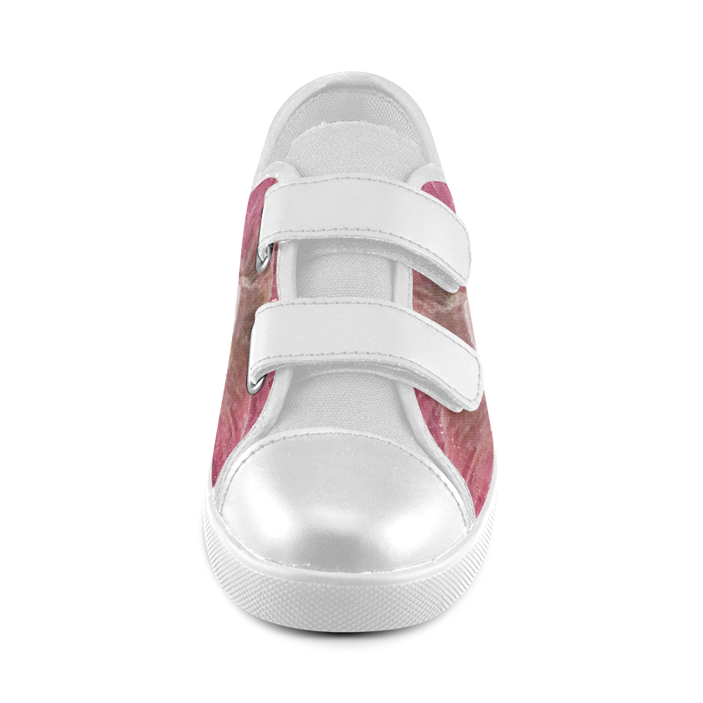 Pink and white stone texture Velcro Canvas Kid's Shoes (Model 008)