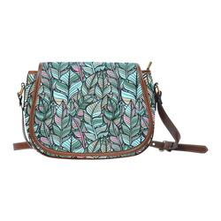 Boho Feathers Green Aqua Pink Saddle Bag/Large (Model 1649)