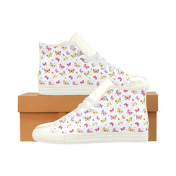 Watercolor Butterflies Aquila High Top Microfiber Leather Women's Shoes (Model 027)