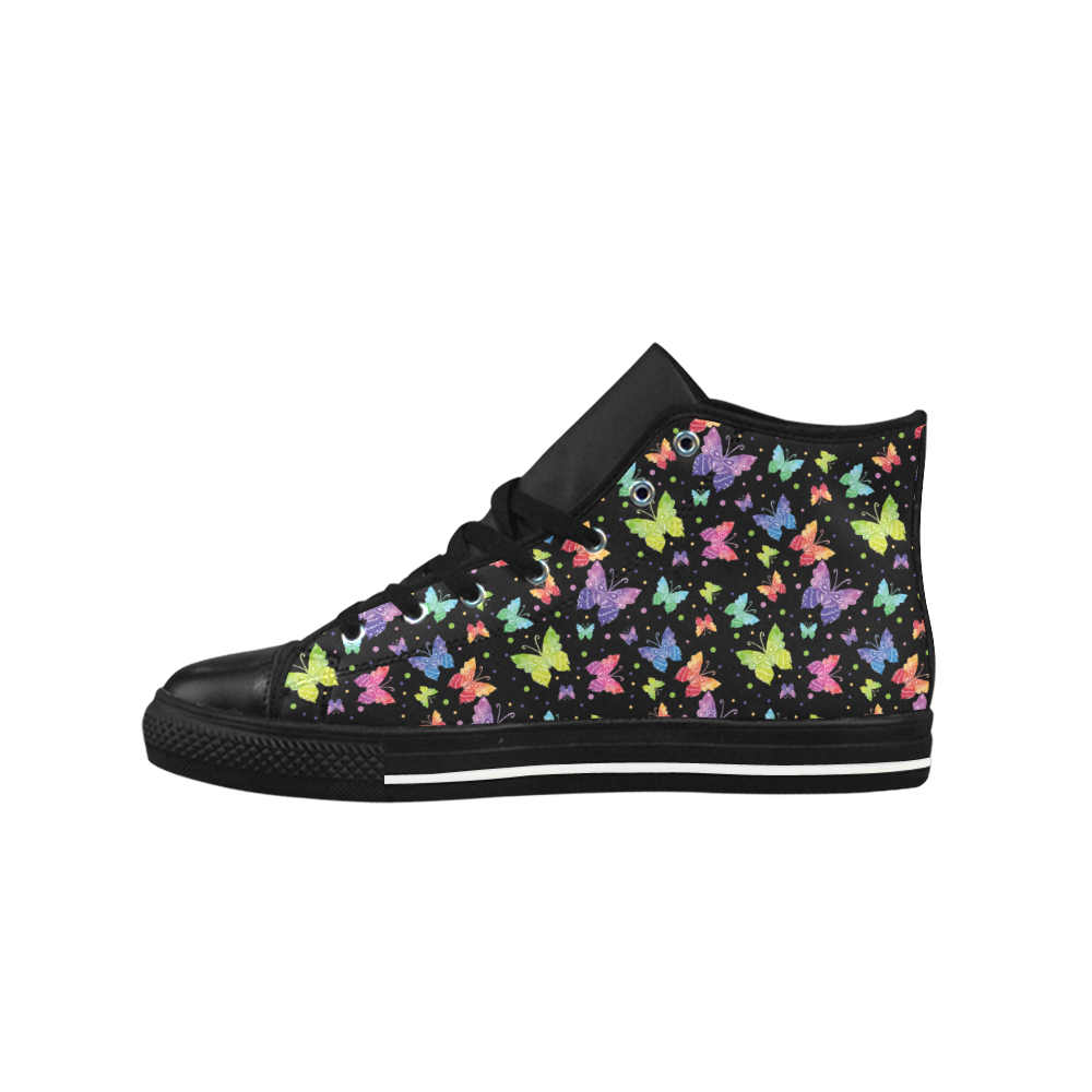 Colorful Butterflies Black Edition Aquila High Top Microfiber Leather Women's Shoes (Model 027)