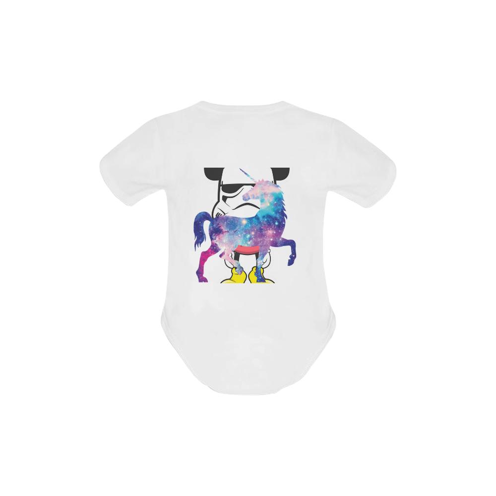 Rainbow giraffe baby white Baby Powder Organic Short Sleeve One Piece (Model T28)