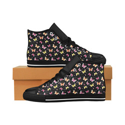 Watercolor Butterflies Black Edition Aquila High Top Microfiber Leather Women's Shoes (Model 027)
