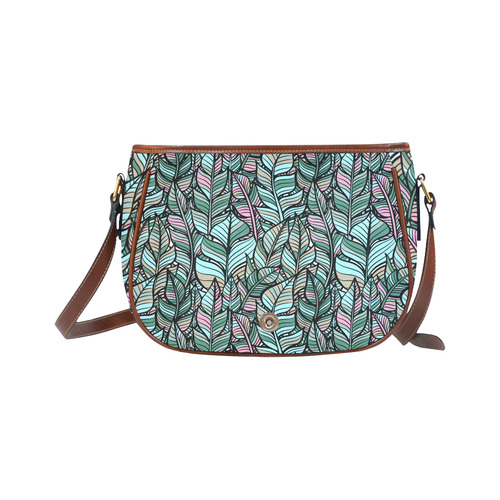 Boho Feathers Green Aqua Pink Saddle Bag/Small (Model 1649) Full Customization