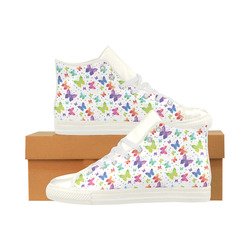 Colorful Butterflies Aquila High Top Microfiber Leather Women's Shoes (Model 027)