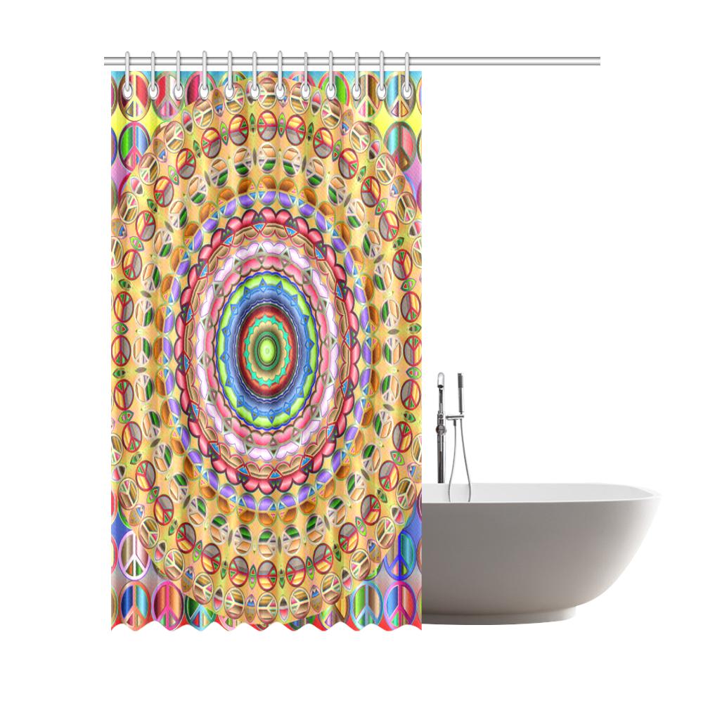 """Peace Mandala Shower Curtain 72""""x84"""""""