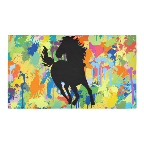 Horse Shape Template Colorful Splash Bath Rug 16''x 28''