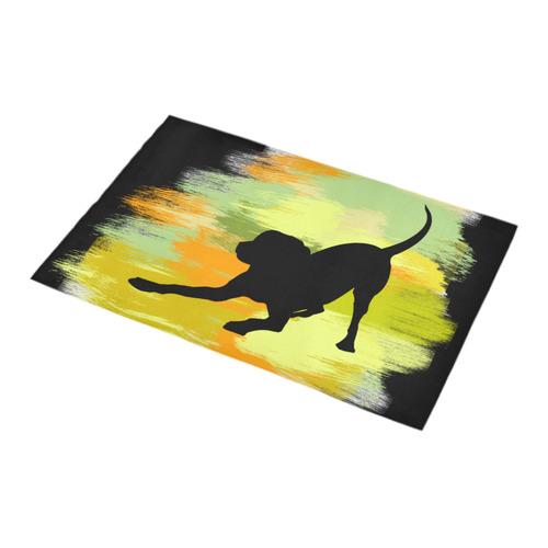 Dog Playing Please Painting Shape Bath Rug 16''x 28''