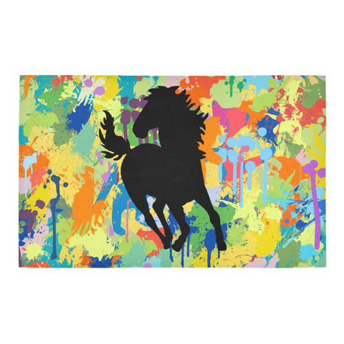 Horse Shape Template Colorful Splash Bath Rug 20''x 32''