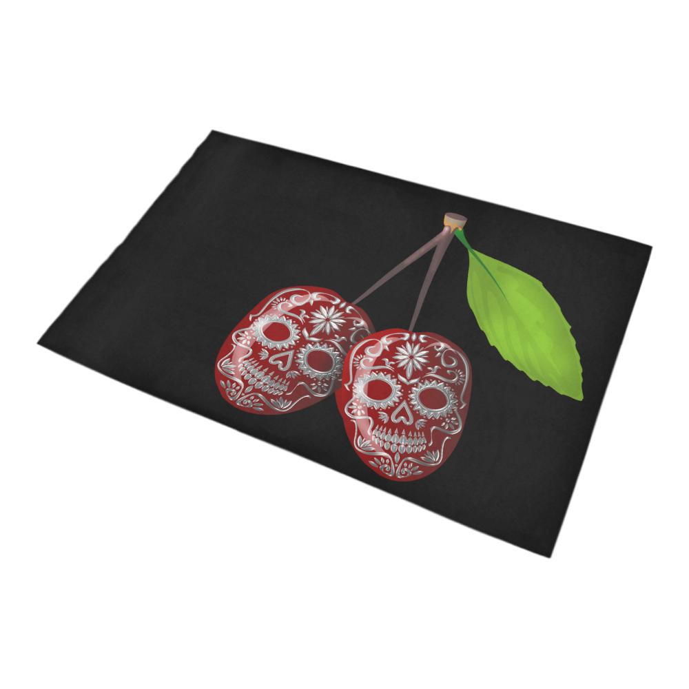 Cherry Sugar Skull Bath Rug 20''x 32''
