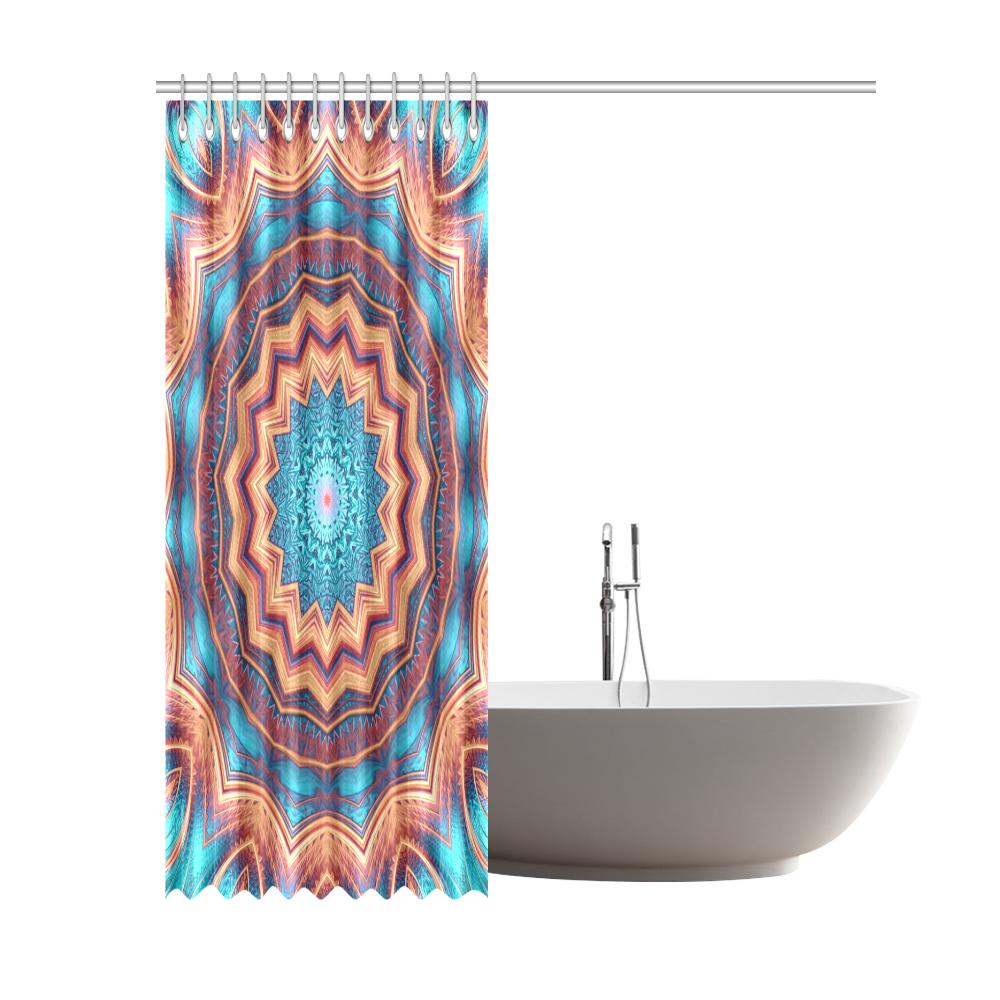 "Blue Feather Mandala Shower Curtain 69""x84"""