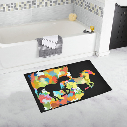 Horse  Shape Galloping out of Colorful Splash Bath Rug 20''x 32''